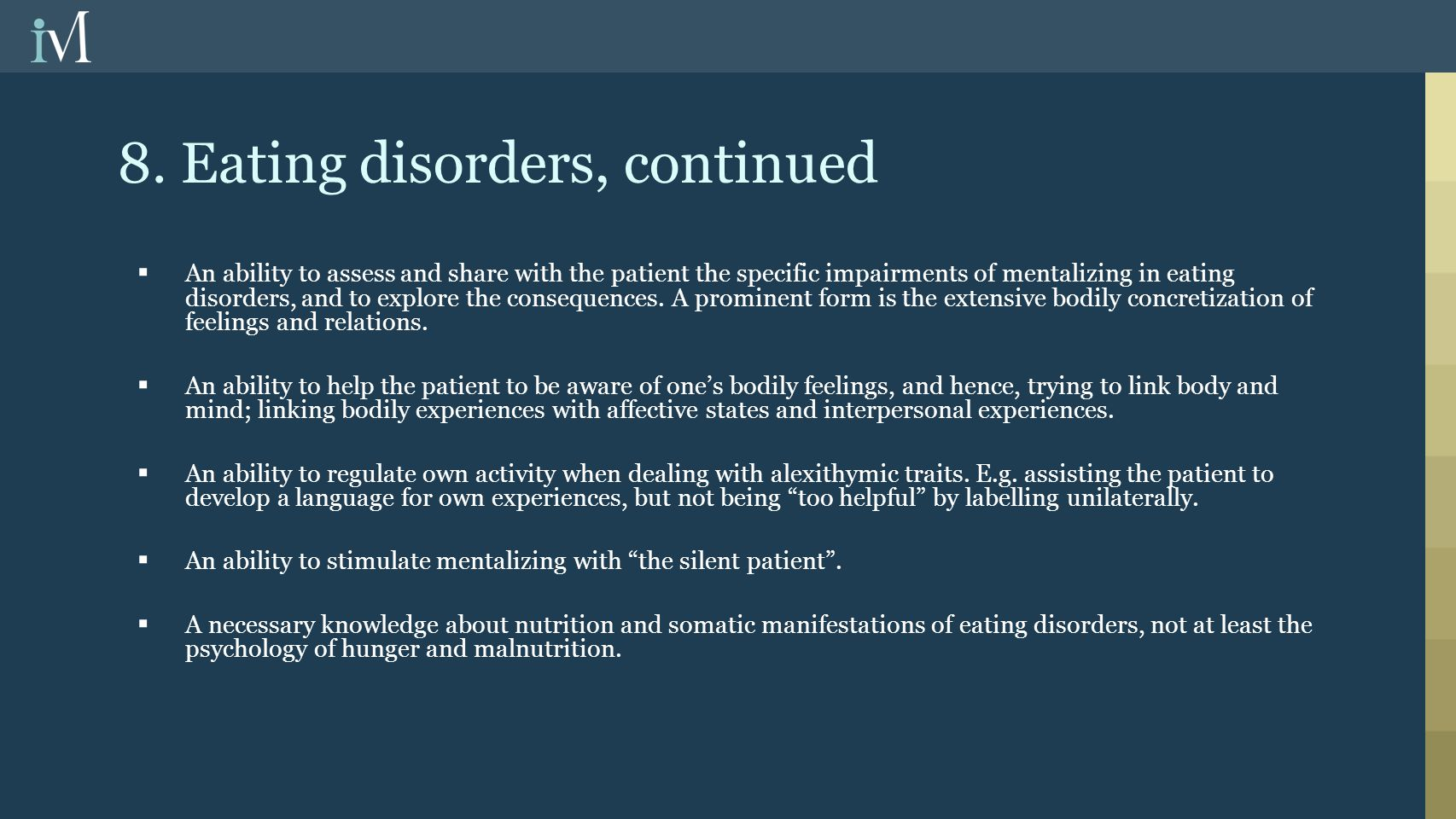 8. Eating disorders, continued
