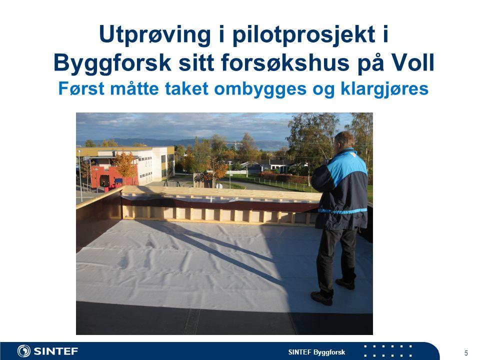 Utprøving i pilotprosjekt i Byggforsk sitt forsøkshus på Voll Først måtte taket ombygges og klargjøres