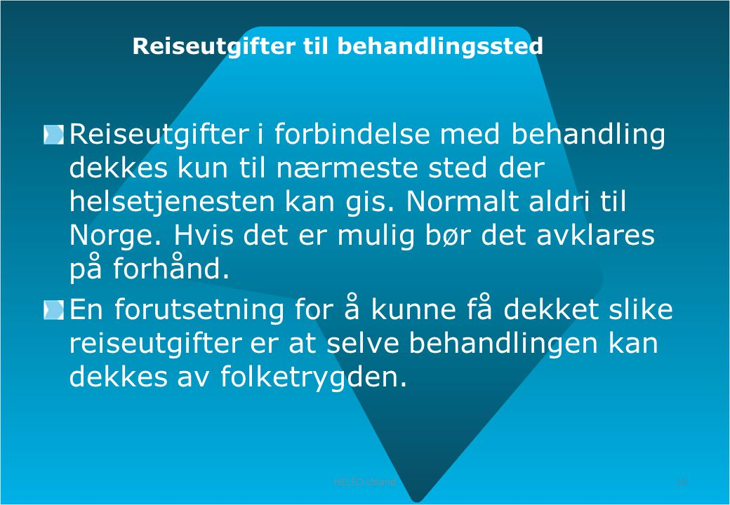 Reiseutgifter til behandlingssted