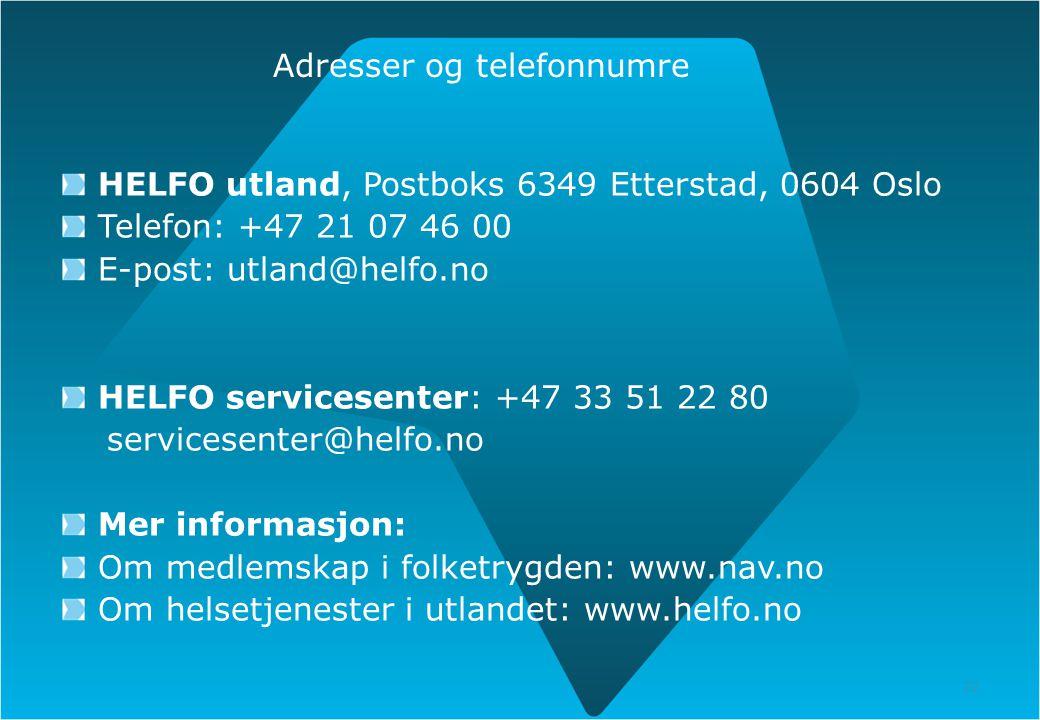Adresser og telefonnumre