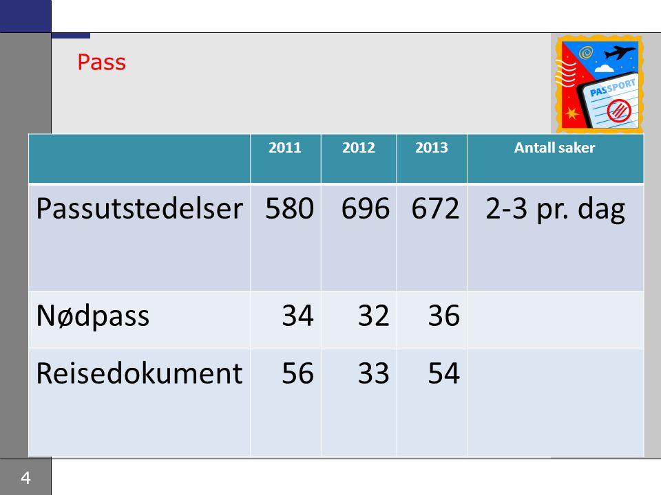 Passutstedelser 580 696 672 2-3 pr. dag Nødpass 34 32 36 Reisedokument