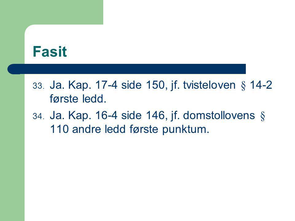 Fasit Ja. Kap. 17-4 side 150, jf. tvisteloven § 14-2 første ledd.