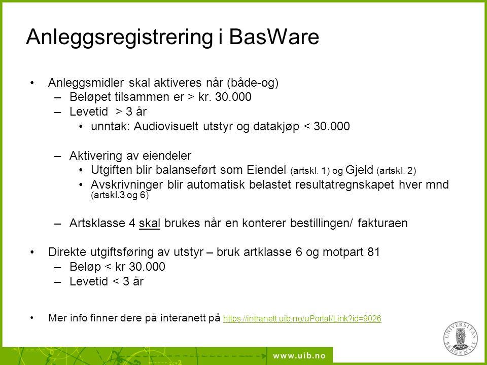 Anleggsregistrering i BasWare