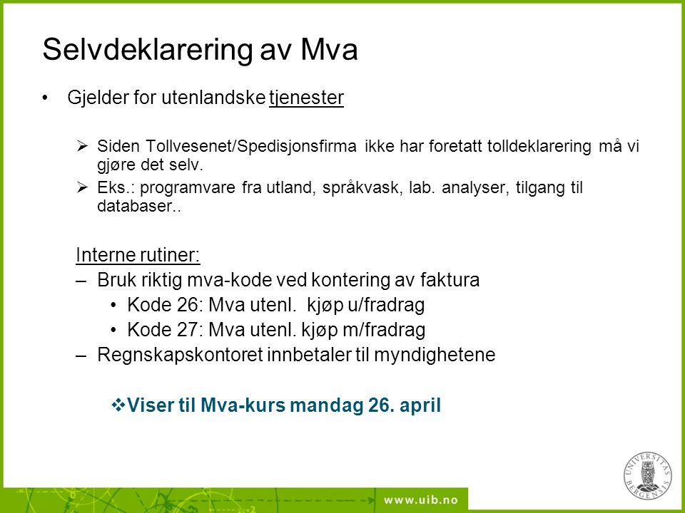 Selvdeklarering av Mva