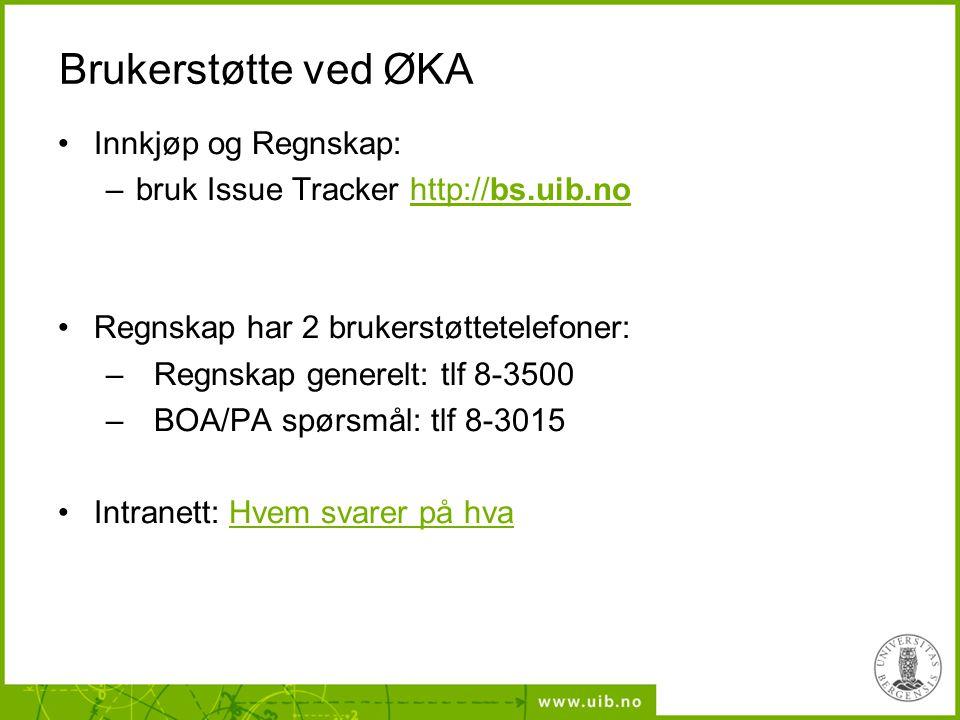 Brukerstøtte ved ØKA Innkjøp og Regnskap: