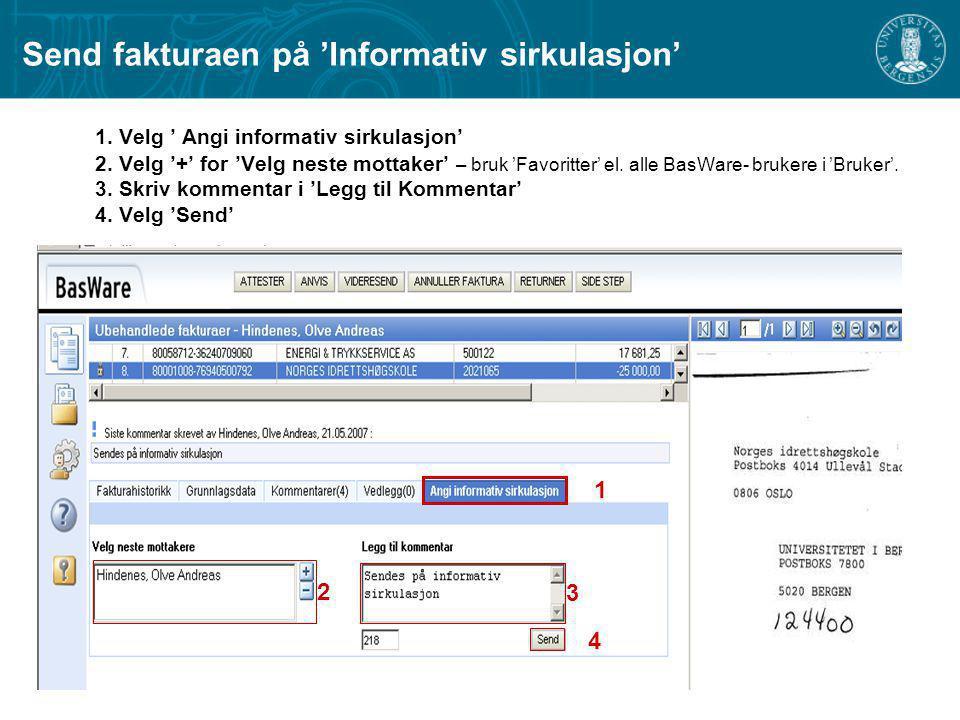 Send fakturaen på 'Informativ sirkulasjon'