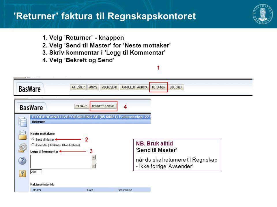 'Returner' faktura til Regnskapskontoret