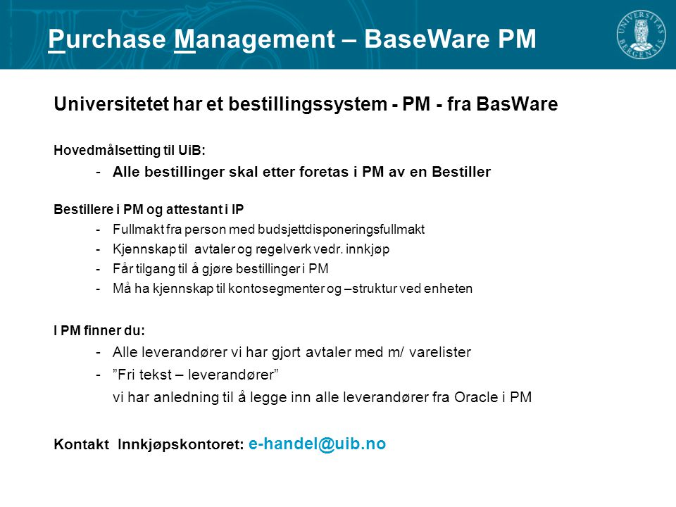 Purchase Management – BaseWare PM