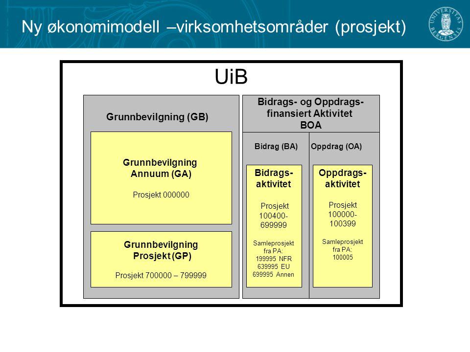UiB Ny økonomimodell –virksomhetsområder (prosjekt)
