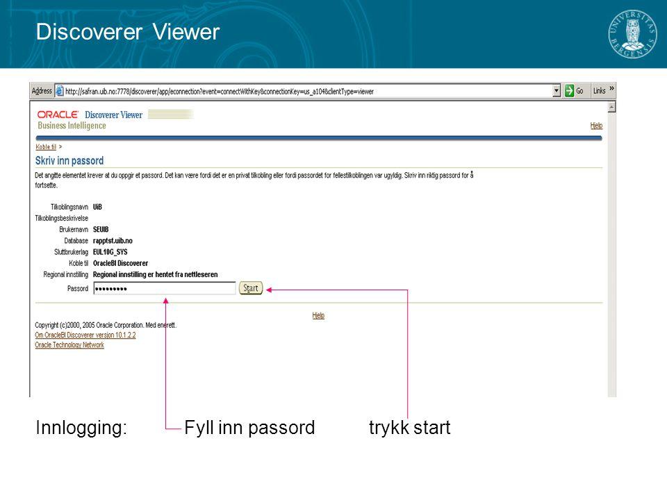 Discoverer Viewer Innlogging: Fyll inn passord trykk start
