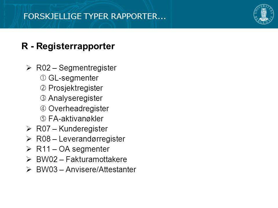 R - Registerrapporter FORSKJELLIGE TYPER RAPPORTER...