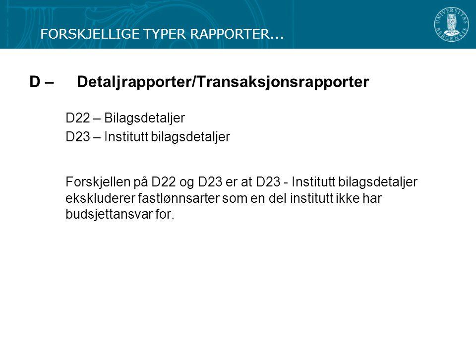 D – Detaljrapporter/Transaksjonsrapporter