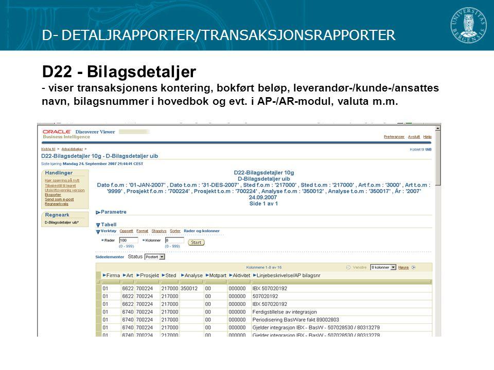 D- DETALJRAPPORTER/TRANSAKSJONSRAPPORTER