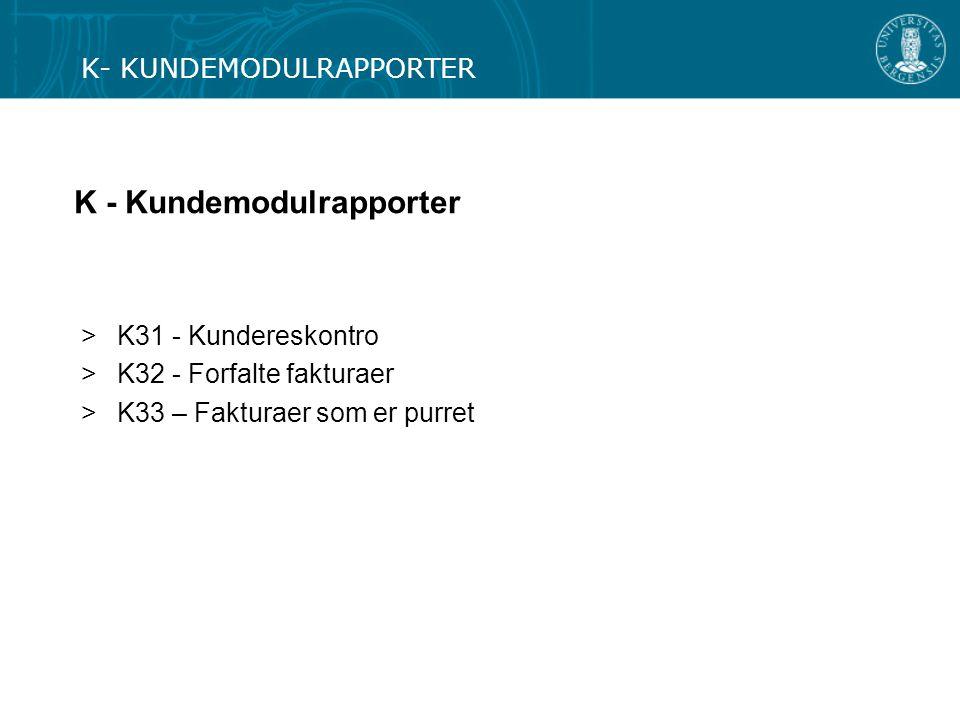 K - Kundemodulrapporter