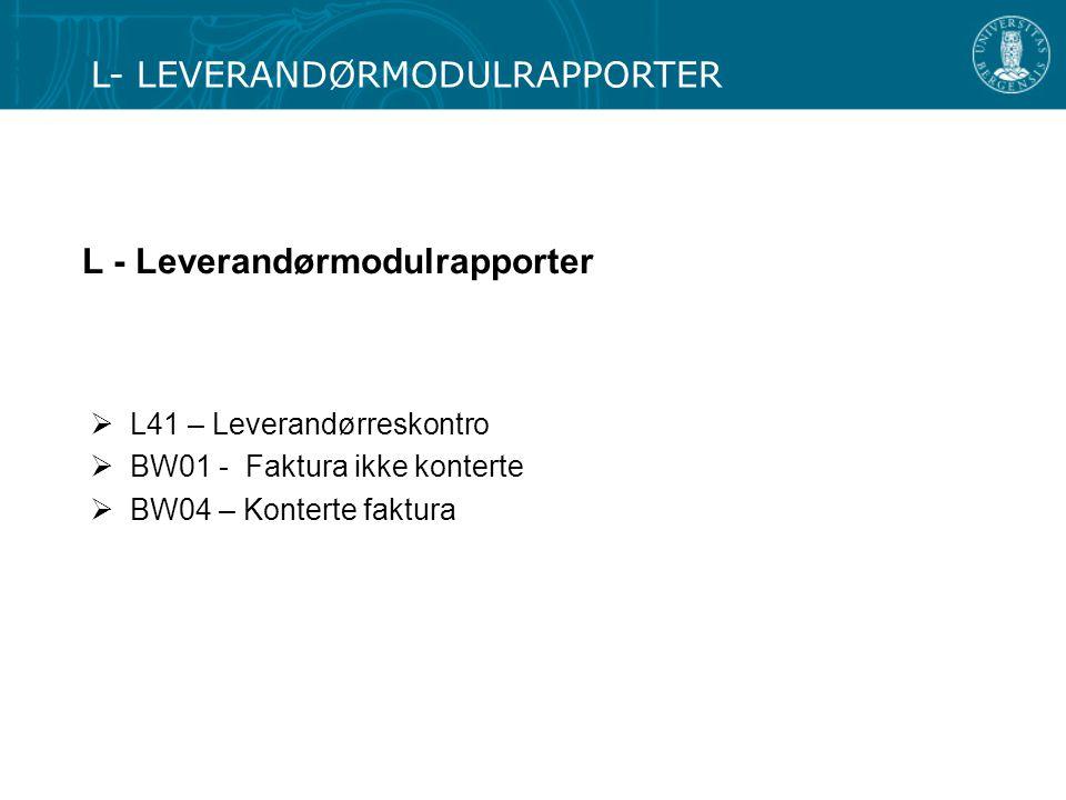 L - Leverandørmodulrapporter
