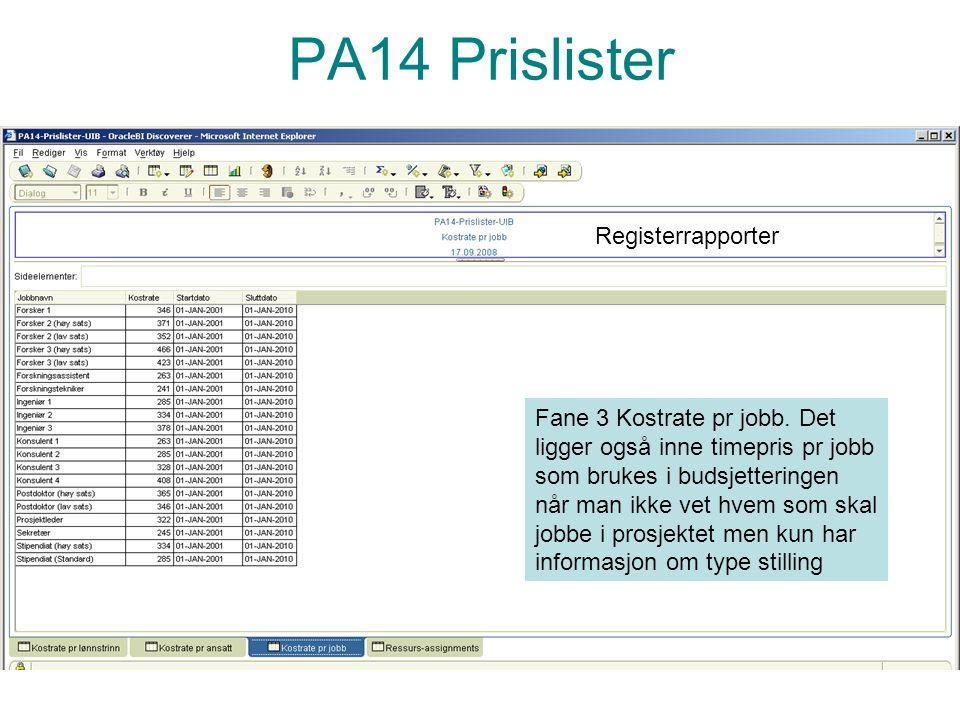 PA14 Prislister Registerrapporter