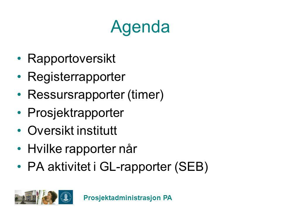 Agenda Rapportoversikt Registerrapporter Ressursrapporter (timer)