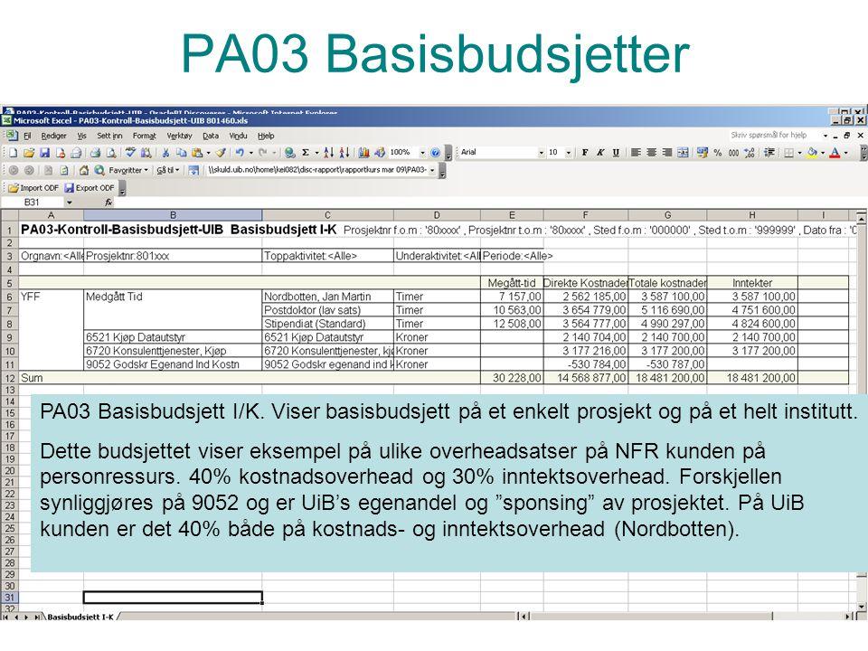 PA03 Basisbudsjetter PA03 Basisbudsjett I/K. Viser basisbudsjett på et enkelt prosjekt og på et helt institutt.