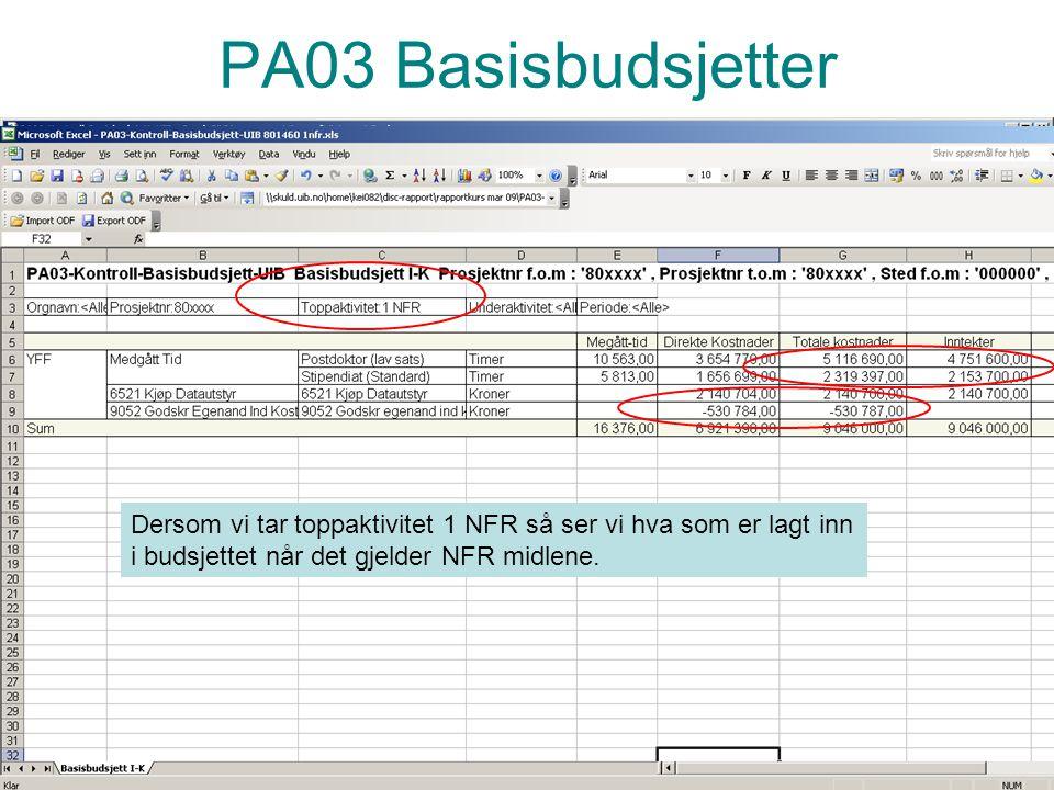 PA03 Basisbudsjetter Dersom vi tar toppaktivitet 1 NFR så ser vi hva som er lagt inn i budsjettet når det gjelder NFR midlene.
