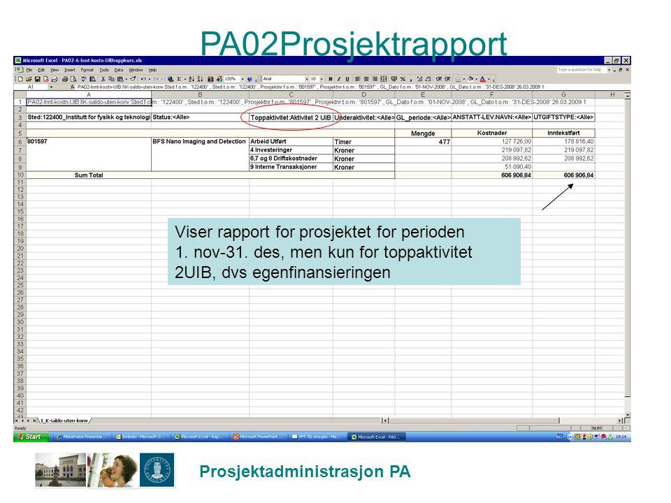 PA02Prosjektrapport Viser rapport for prosjektet for perioden