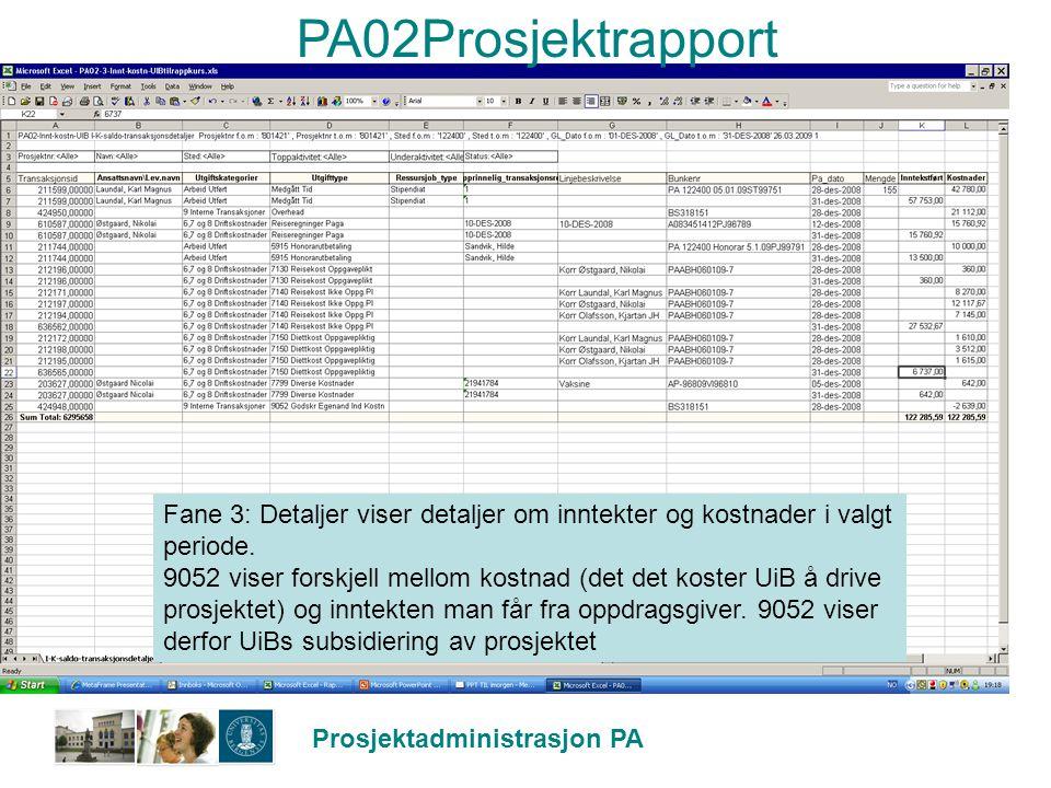 PA02Prosjektrapport Fane 3: Detaljer viser detaljer om inntekter og kostnader i valgt periode.