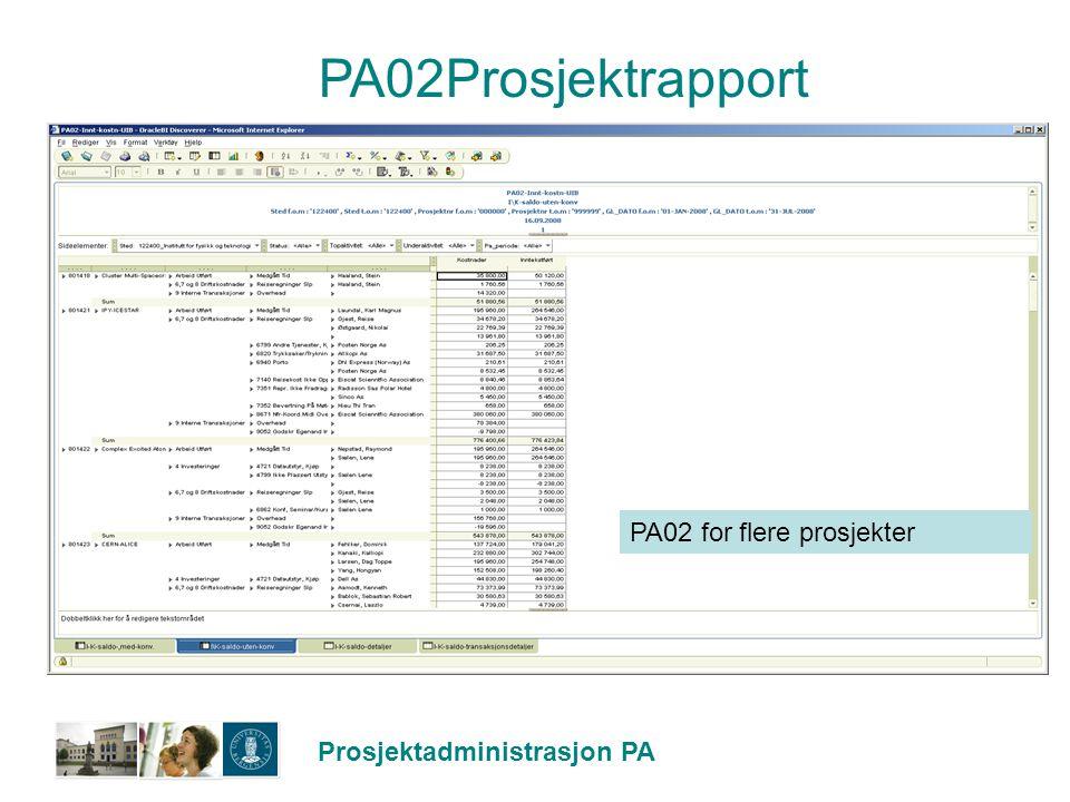 PA02Prosjektrapport PA02 for flere prosjekter