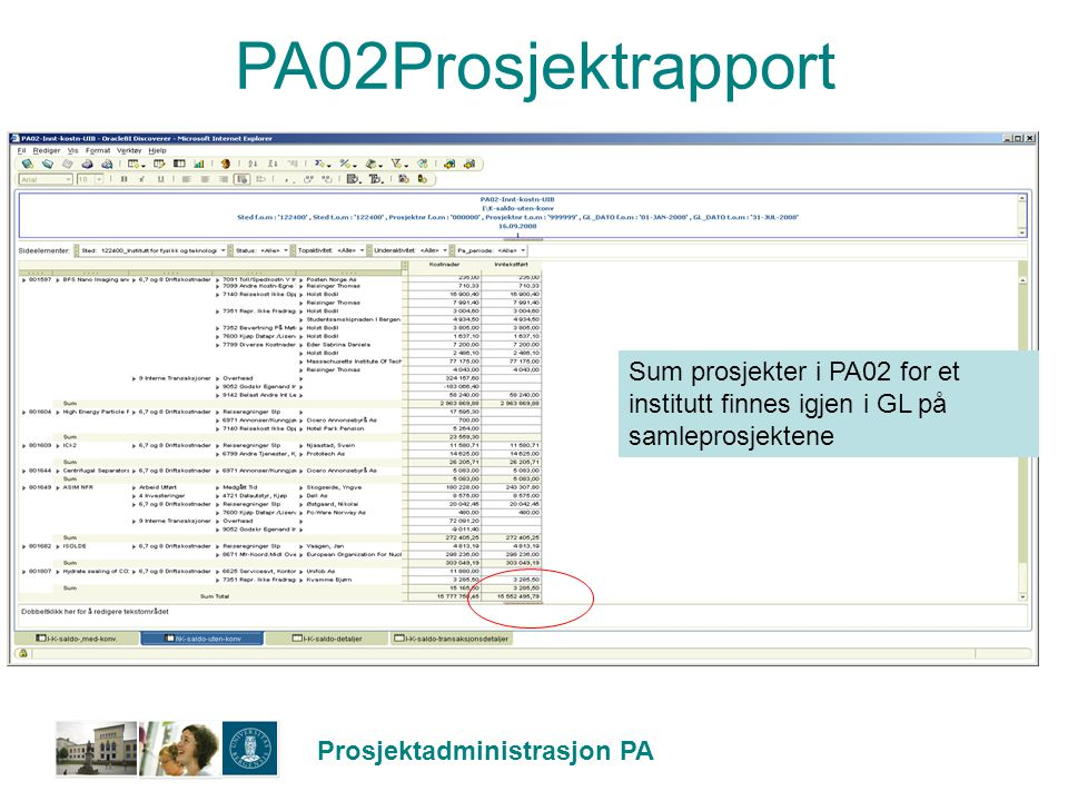PA02Prosjektrapport Sum prosjekter i PA02 for et institutt finnes igjen i GL på samleprosjektene