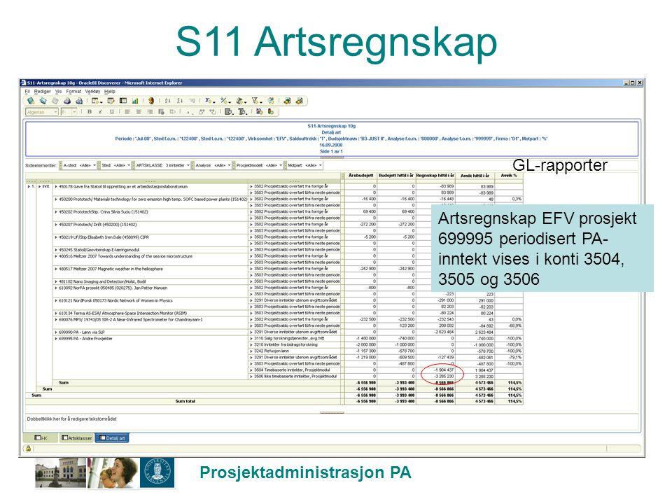 S11 Artsregnskap GL-rapporter