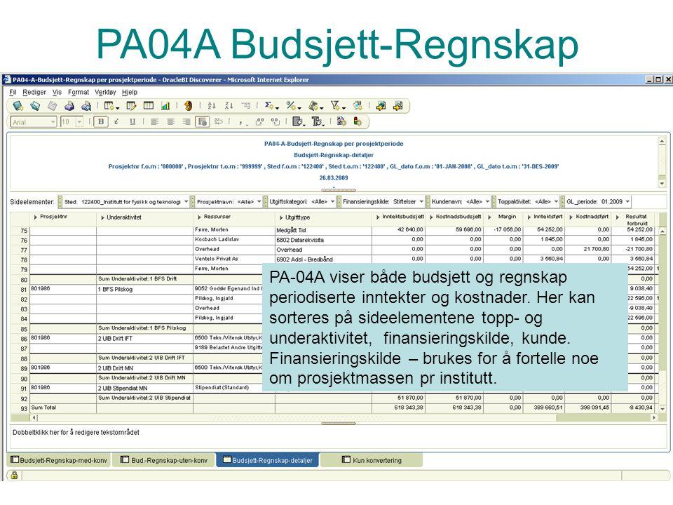 PA04A Budsjett-Regnskap