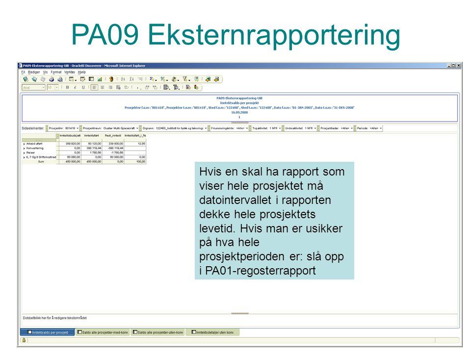 PA09 Eksternrapportering