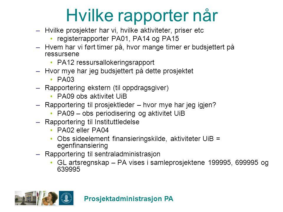 Hvilke rapporter når Hvilke prosjekter har vi, hvilke aktiviteter, priser etc. registerrapporter PA01, PA14 og PA15.