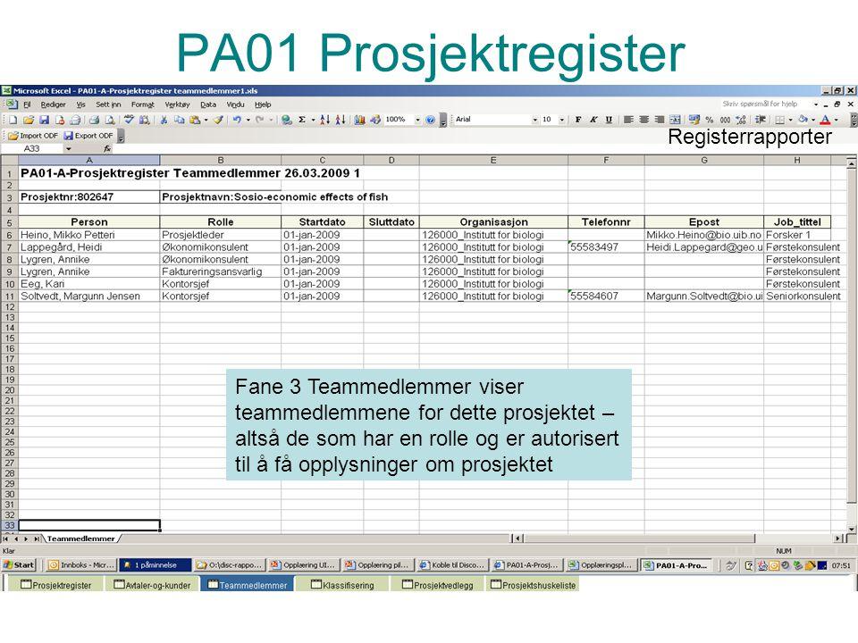 PA01 Prosjektregister Registerrapporter