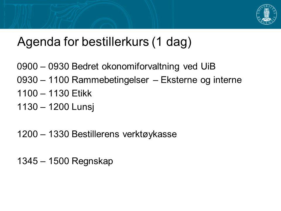 Agenda for bestillerkurs (1 dag)