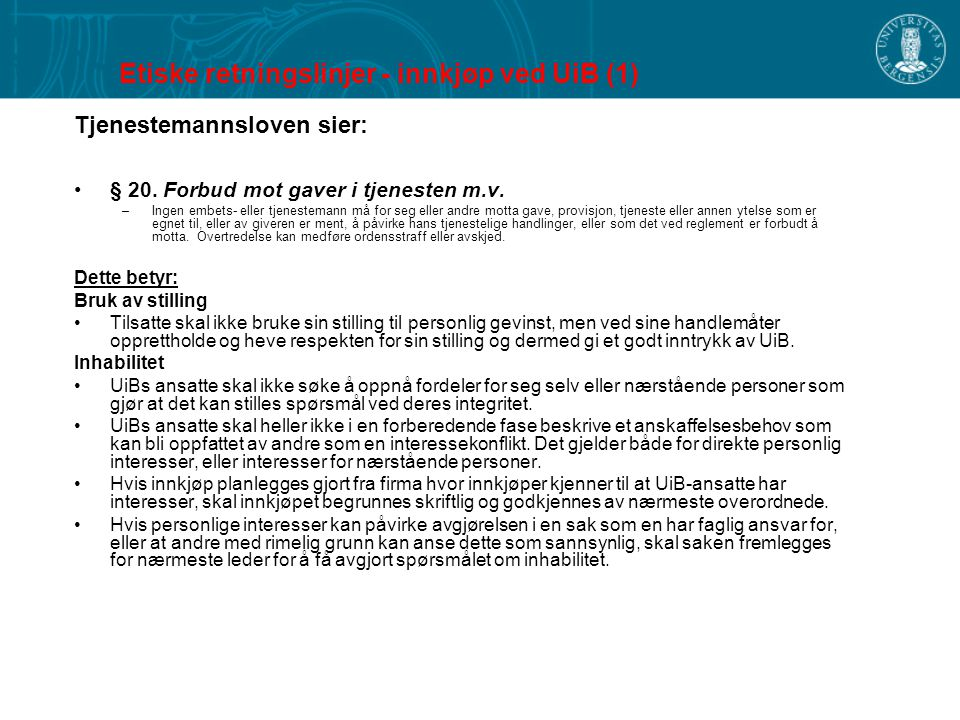 Etiske retningslinjer - innkjøp ved UiB (1)