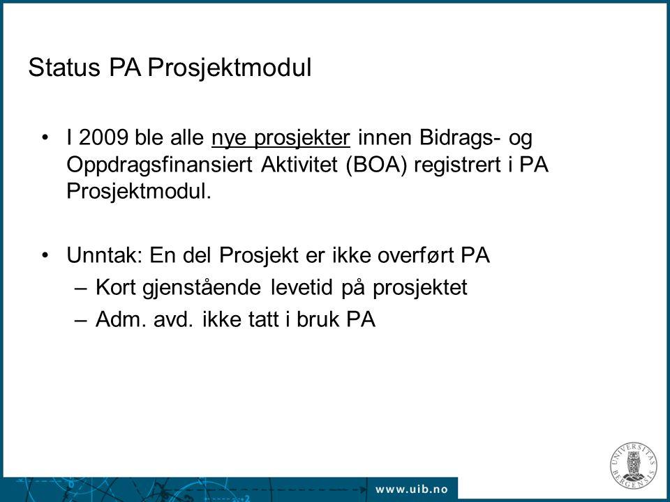 Status PA Prosjektmodul