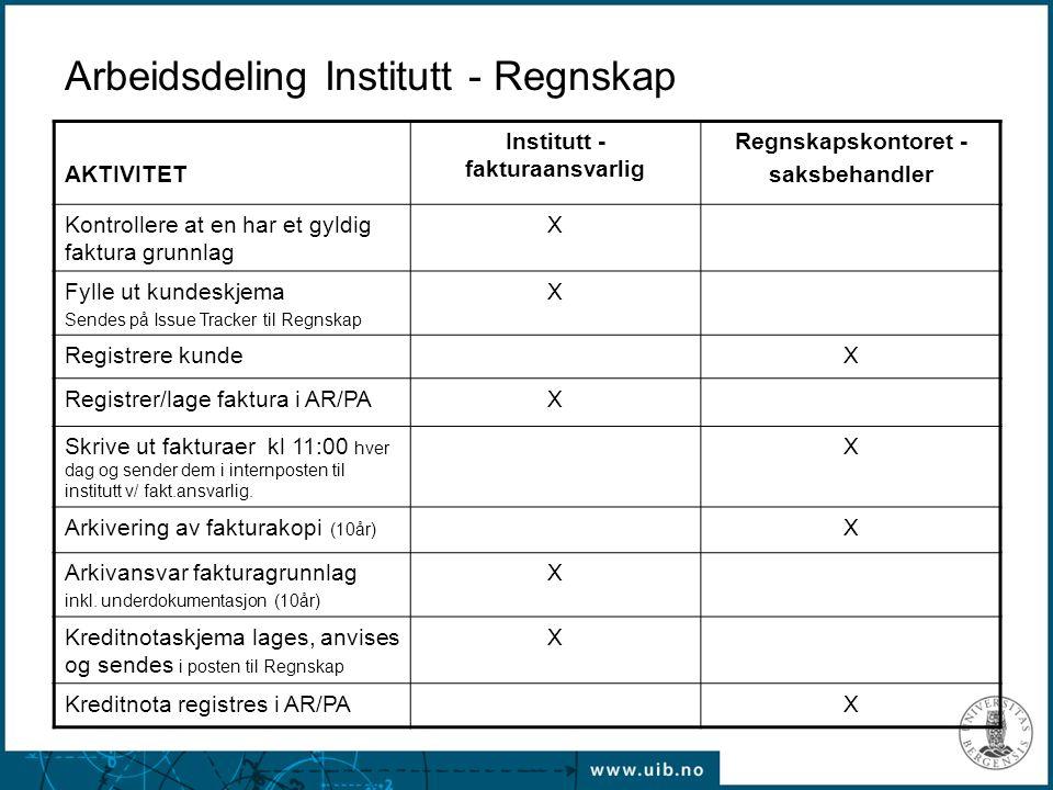 Arbeidsdeling Institutt - Regnskap