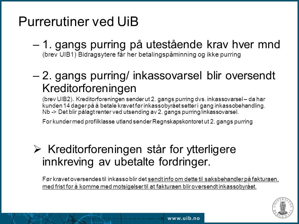 Purrerutiner ved UiB 1. gangs purring på utestående krav hver mnd (brev UIB1) Bidragsytere får her betalingspåminning og ikke purring.