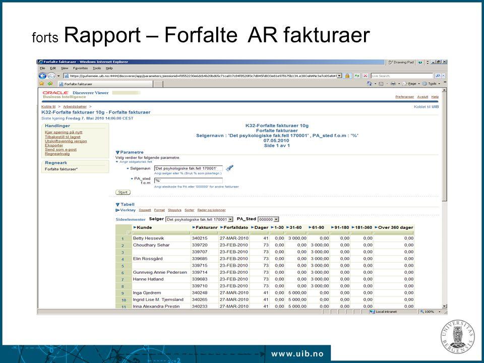 forts Rapport – Forfalte AR fakturaer