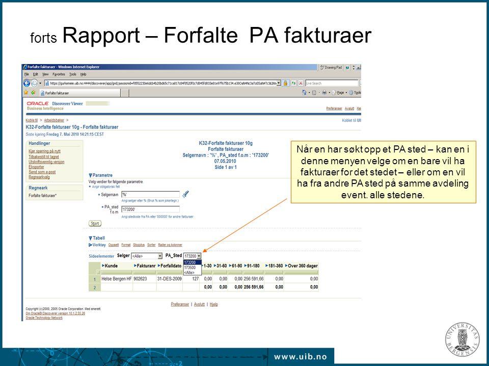 forts Rapport – Forfalte PA fakturaer