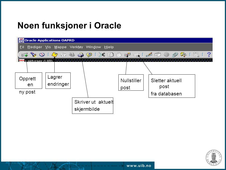 Noen funksjoner i Oracle