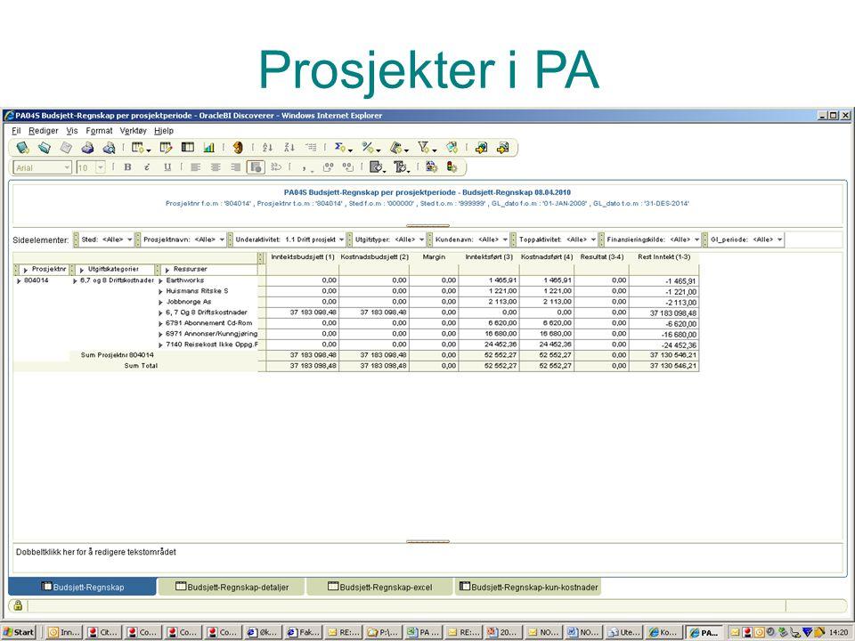 Prosjekter i PA Vise rapport vedr timer – pa02 eller 04