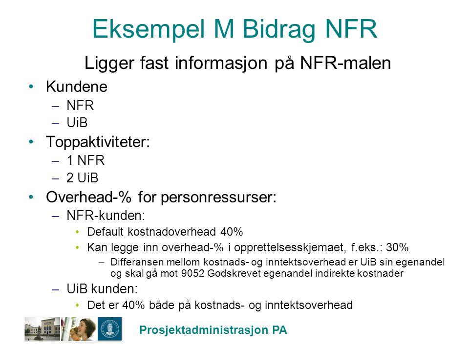 Eksempel M Bidrag NFR Ligger fast informasjon på NFR-malen