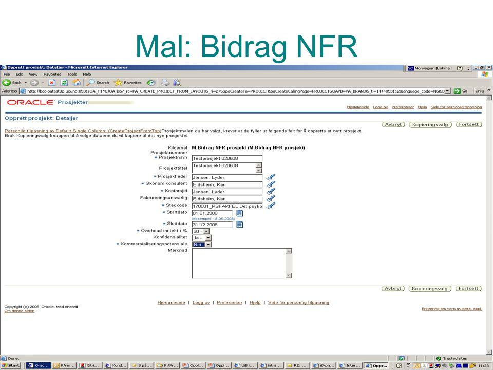 Mal: Bidrag NFR