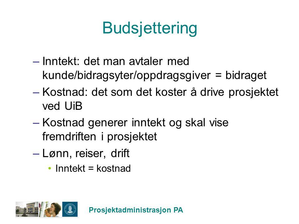 Budsjettering Inntekt: det man avtaler med kunde/bidragsyter/oppdragsgiver = bidraget. Kostnad: det som det koster å drive prosjektet ved UiB.