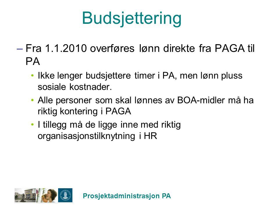 Budsjettering Fra 1.1.2010 overføres lønn direkte fra PAGA til PA
