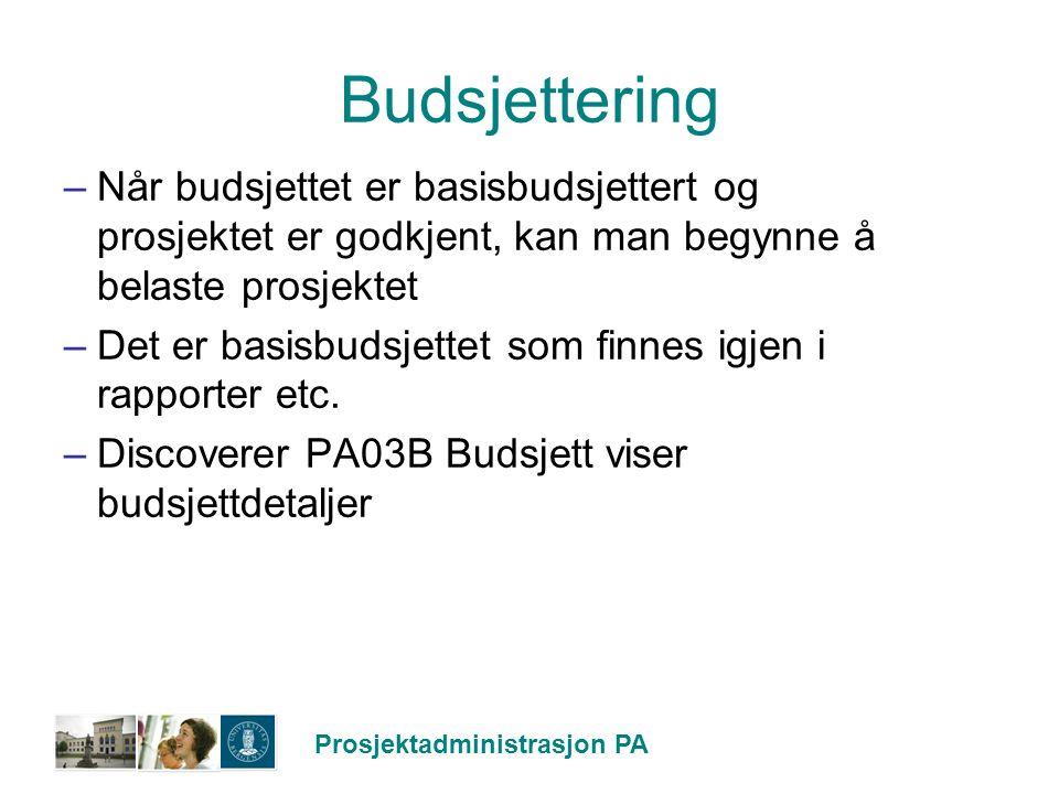 Budsjettering Når budsjettet er basisbudsjettert og prosjektet er godkjent, kan man begynne å belaste prosjektet.
