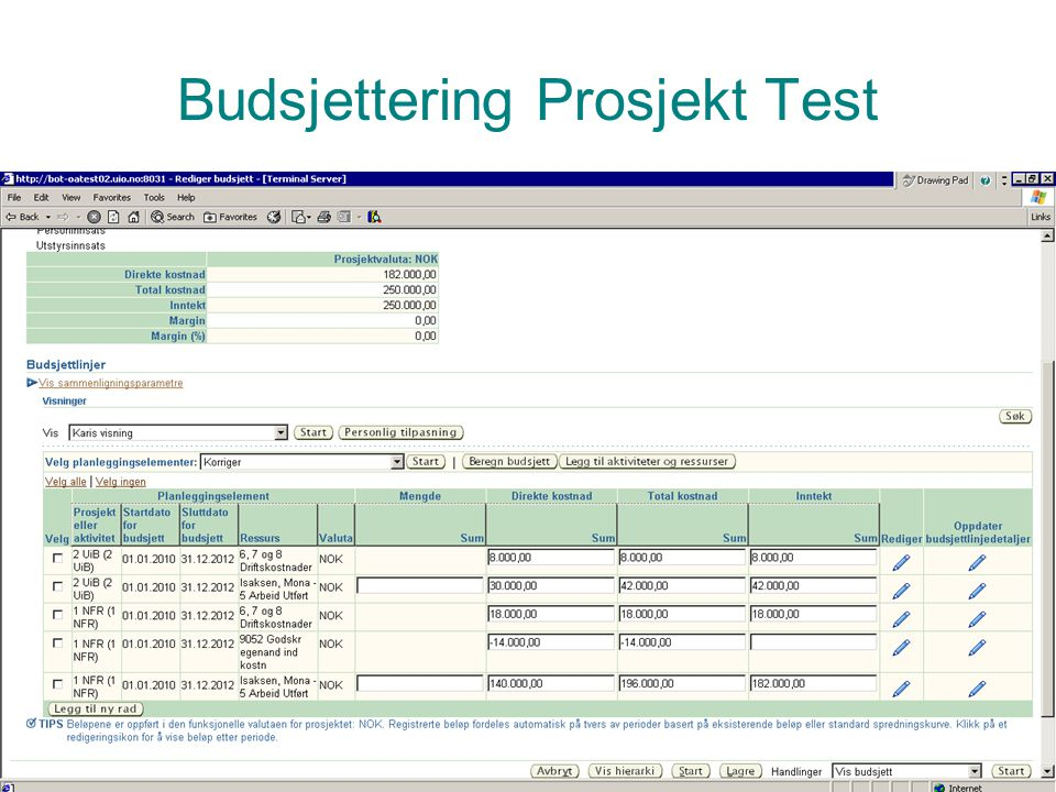 Budsjettering Prosjekt Test