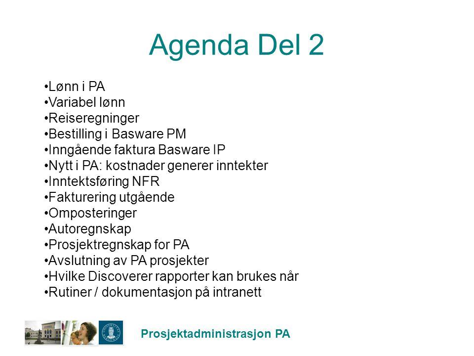 Agenda Del 2 Lønn i PA Variabel lønn Reiseregninger