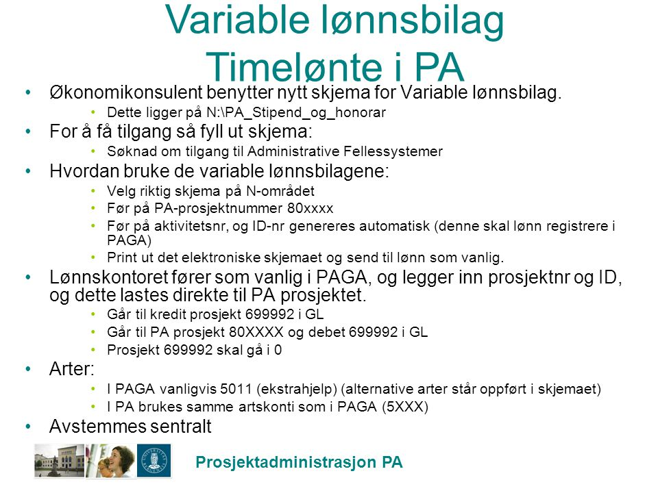 Variable lønnsbilag Timelønte i PA