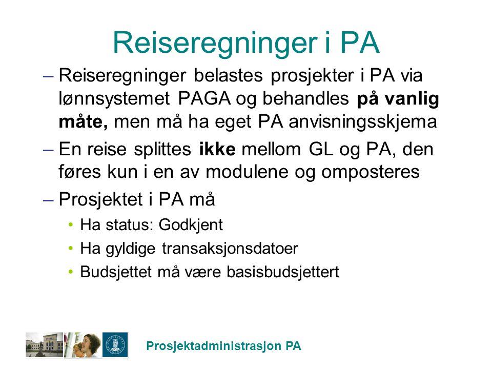 Reiseregninger i PA Reiseregninger belastes prosjekter i PA via lønnsystemet PAGA og behandles på vanlig måte, men må ha eget PA anvisningsskjema.